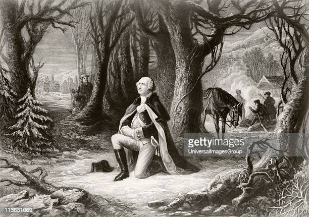 George Washington prays at the American Revolutionary War encampment of Valley Forge during the winter of 17771778 After a painting by Henry Brueckner
