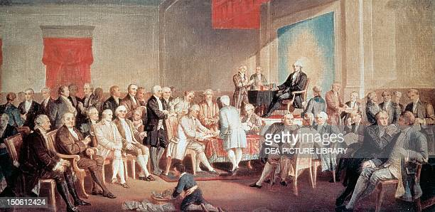 George Washington signing the Constitution 1787 Convention of Philadelphia the United States 18th century