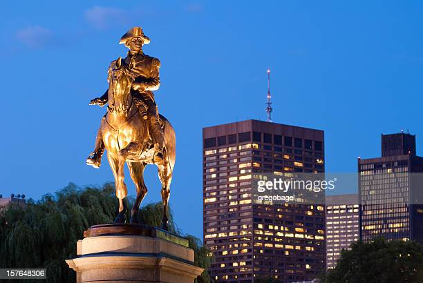 George Washington statue in Public Garden at night