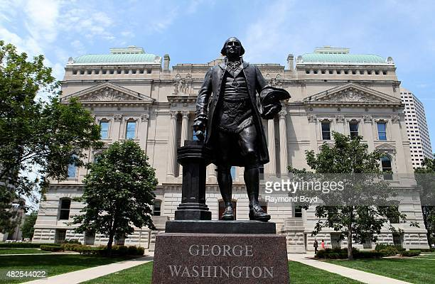 George Washington statue stands outside the Indiana State Capitol Building on July 16 2015 in Indianapolis Indiana