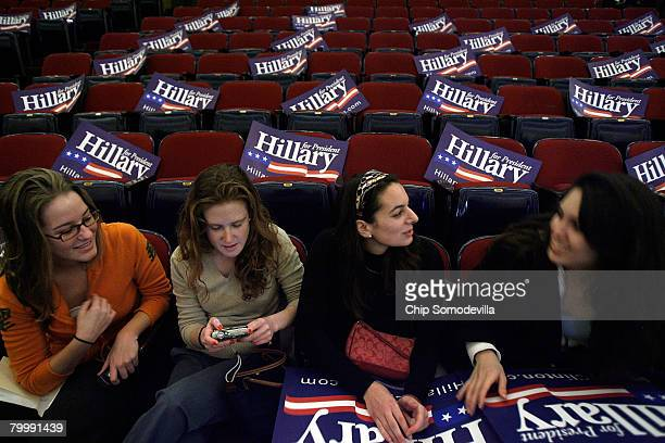 George Washington University students Claire McGowan Darcey O'Halloran Emily Mitnick and Becky Reeves visit before Democratic presidential hopeful...