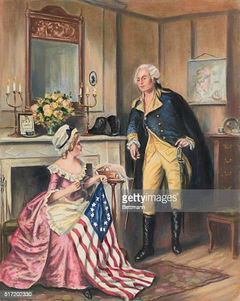 George Washington watching Betsy Ross sew the flag