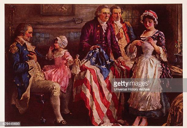 George Washington with Betsy Ross and the First American Flag Approved by Congress on June 14 Portrait