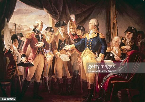 George Washington with British soldiers at Yorktown