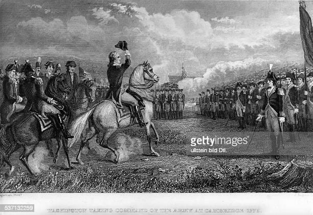 George WashingtonGeorge Washington Politiker USA 1 Präsident der USA 17891797 übernimmt die Truppen als Oberbefehlshaber in Cambridge 1775