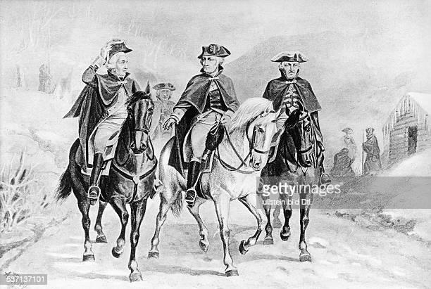 George WashingtonGeorge Washington Politiker USA 1 Präsident der USA 17891797 Washington Lafayette und Steuben undatiert
