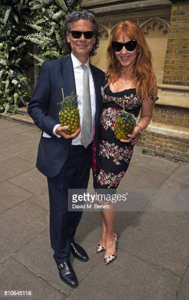 George Waud and Charlotte Tilbury attend Piers Adam and Sophie Vanacore's wedding at St John's Church on July 7 2017 in London England