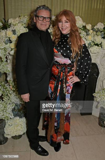 George Waud and Charlotte Tilbury attend the British Vogue and Tiffany Co Celebrate Fashion and Film Party at Annabel's on February 10 2019 in London...