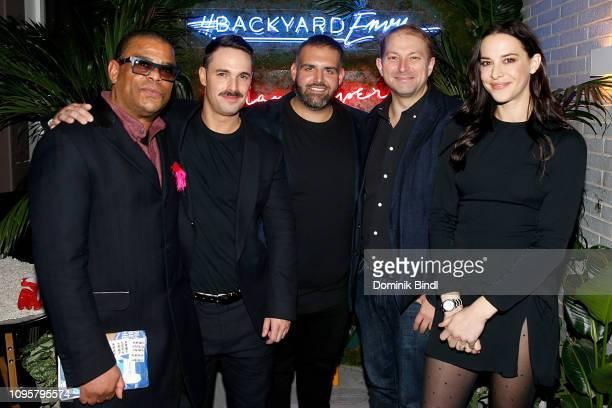 George Wayne Garrett Magee James DeSantis Ben Widdicombe and Melissa Brasier attend the 'Backyard Envy' premiere at The Standard Hotel on January 17...