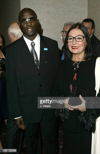 George Weah and Nana Mouskouri during UNICEF Goodwill Gala Celebrating 50 Years of Celebrity Goodwill Ambassadors - Backstage and Audience at Beverly...