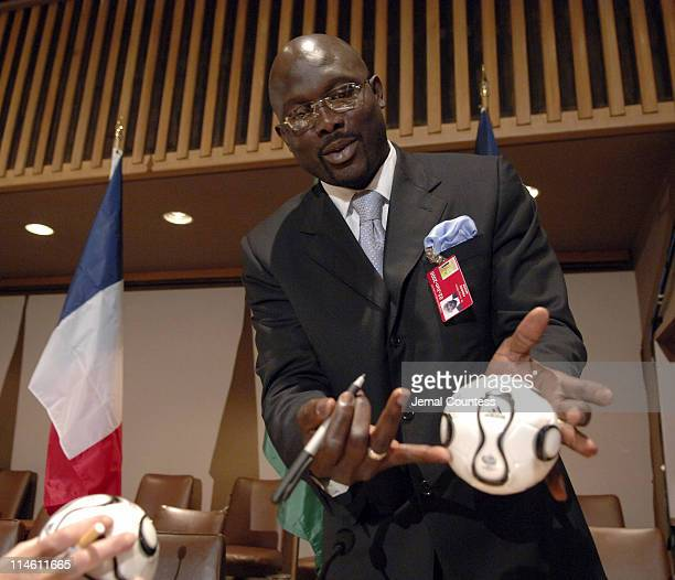 George Weah at the UNITAID press conference at the United Nations on June 2 2006