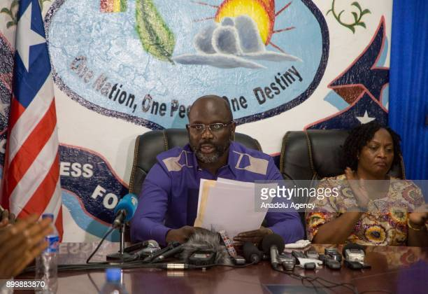 George Weah President of Liberia and Vice President Elect Jowel Howard Taylor attends a press conference at Coalition for Democratic Change Party's...