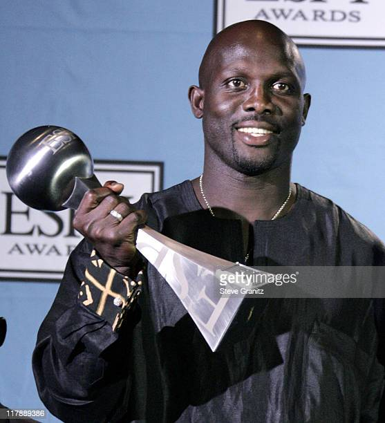 George Weah winner of the Arthur Ashe award during 2004 ESPY Awards Press Room at Kodak Theatre in Hollywood California United States