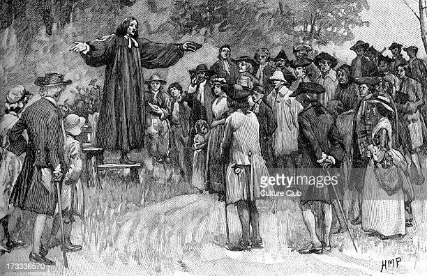George Whitefield preaching English Anglican priest and a founder of Methodism Preached during the Great Awakening in 1700s in Europe and American...