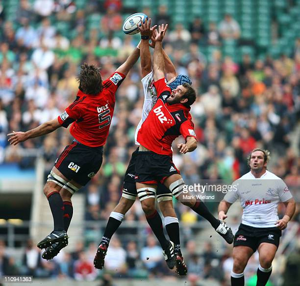 George Whitelock of the Crusaders jumps during the round six Super Rugby match between the Crusaders and the Sharks at Twickenham Stadium on March 27...