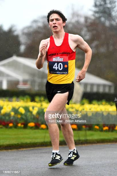 George Wilkinson competes in the mens 20km walking race during the Muller British Athletics Marathon and 20km Walk Trials at Kew Gardens on March 26,...