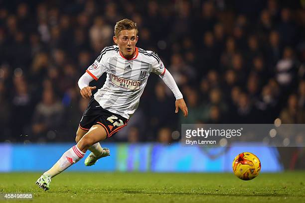 George Williams of Fulham in action during the Sky Bet Championship match between Fulham and Blackpool at Craven Cottage on November 5 2014 in London...