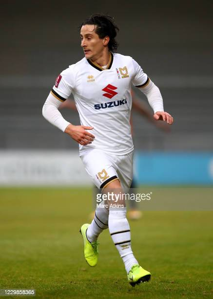 George Williams of MK Dons during the Emirates FA Cup Second Round match between Barnet FC and Milton Keynes Dons at The Hive London on November 29,...
