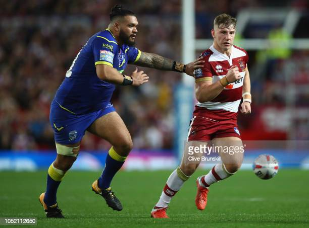 George Williams of the Wigan Warriors in action during the BetFred Super League Grand Final between Warrington Wolves v Wigan Warriors at Old...