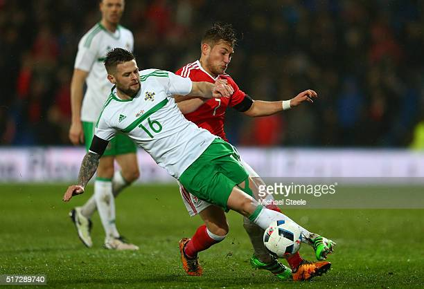 George Williams of Wales tackles Oliver Norwood of Northern Ireland during the international friendly match between Wales and Northern Ireland at the...