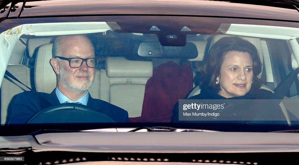 George Windsor, Earl of St Andrews and Sylvana Palma Windsor, Countess of St Andrews attend a Christmas lunch for members of the Royal Family hosted by Queen Elizabeth II at Buckingham Palace on December 20, 2016 in London, England.