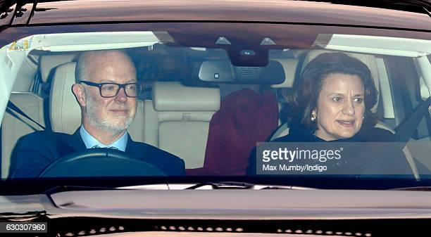 George Windsor Earl of St Andrews and Sylvana Palma Windsor Countess of St Andrews attend a Christmas lunch for members of the Royal Family hosted by...