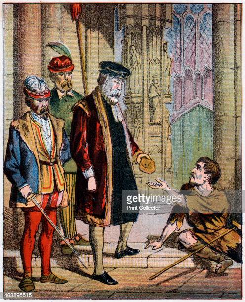 George Wishart 16th century Scottish reformer and martyr mid 19th century Wishart on his way to trial before Archbishop Beaton giving his purse to a...