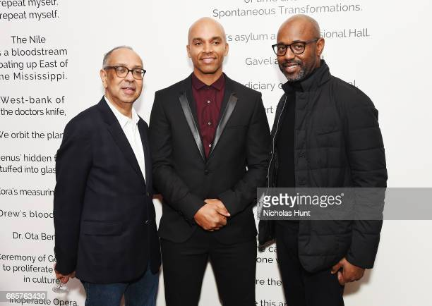 George Wolfe Kadir Nelson andLewis Long attend HBO's The HeLa Project Exhibit For The Immortal Life of Henrietta Lacks on April 6 2017 in New York...