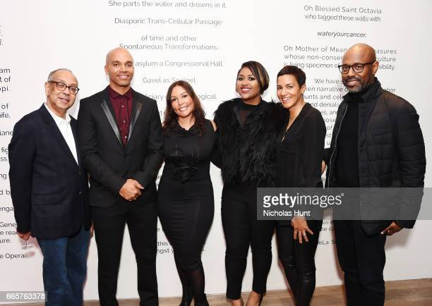 George Wolfe Kadir Nelson Lucinda Martinez Jazmine Sullivan Jackie Gagne and Lewis Long attends HBO's The HeLa Project Exhibit For The Immortal Life...