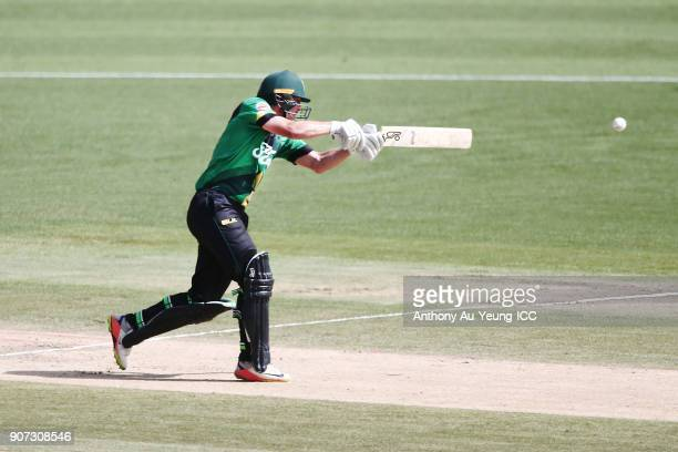 George Worker of the Stags bats during the Super Smash Grand Final match between the Knights and the Stags at Seddon Park on January 20 2018 in...