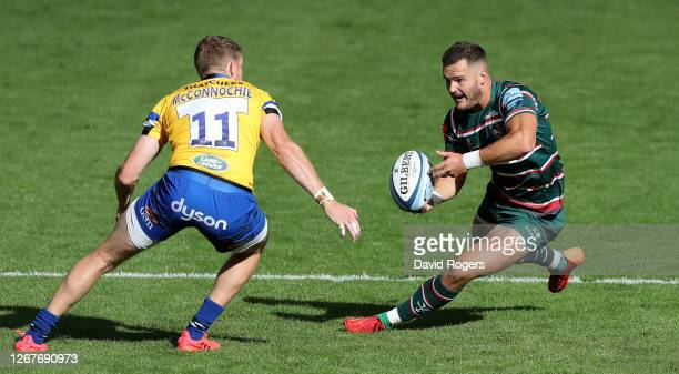 George Worth of Leicester Tigers takes on Ruaridh McConnochie during the Gallagher Premiership Rugby match between Leicester Tigers and Bath Rugby at...