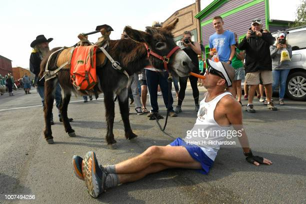 George Zach shares a carrot with his donkey Jake after the two finished second in the 29 mile race of the 70th annual World Championship Pack Burro...