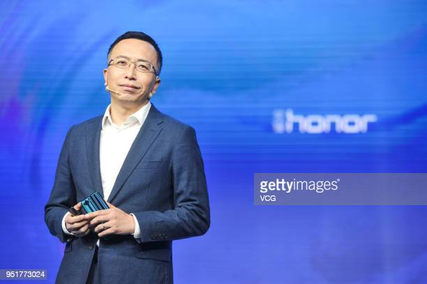George Zhao president of Honor a division of Huawei speaks during the Global Mobile Internet Conference 2018 at China National Convention Center on...