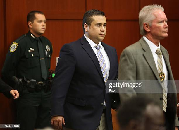 George Zimmerman C arrives in Seminole circuit court on the second day of his trial in Seminole circuit court June 11 2013 in Sanford Florida Jury...