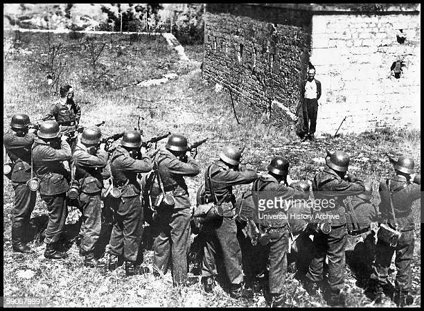 Georges Blind a member of the French resistance about to be executed a German firing squad France World war two 1944