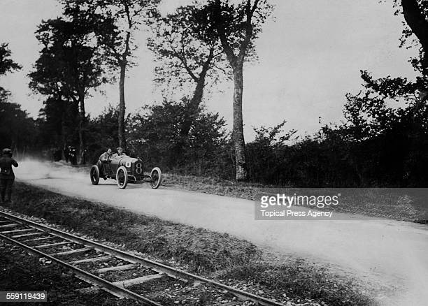 Georges Boillot of France drives the Coupe de l'Auto 3Litre Peugeot during the Coupe de l'Auto race on 21 September 1913 on the Boulogne Road Circuit...