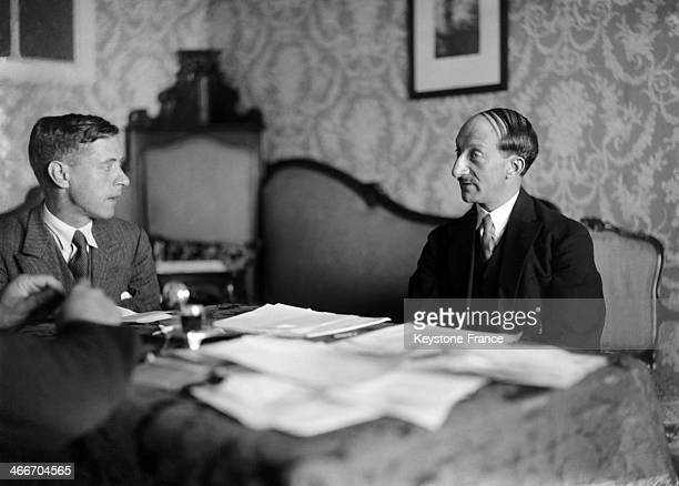 Georges Bonnet, French chairman of Stresa conference for the economic reconstruction of eastern and central Europe, being interviewed by a journalist...