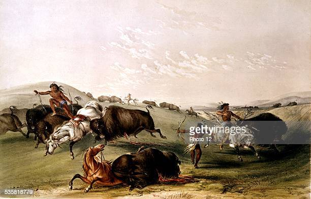 Georges Catlin North American Indians hunting buffalo 19th century United States