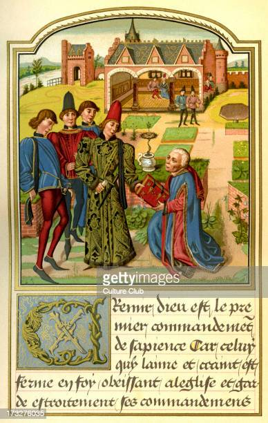 Georges Chastellain presenting his book to Charles Duke of Burgundy From miniature from Instruction d'un jeune prince by Chastellain 15th century...