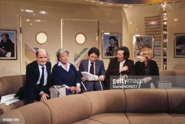 Georges Cravenne Simone Signoret Michel Drucker Jean Rochefort et Marie Dubois le 5 février 1978 à Paris France