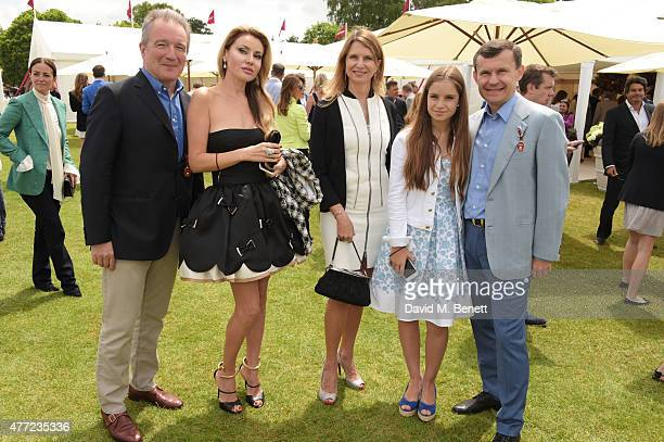 Georges De Keerle Alexandra Shishlova Katia NeverovaDe Keerle Nikol Mauergauz and Alexey Mauergauz attend The Cartier Queen's Cup final at Guards...