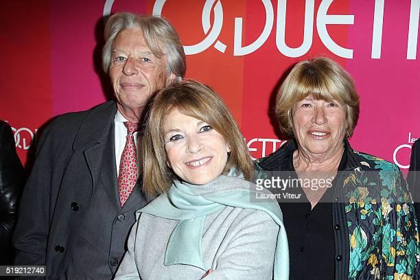 """Georges Delletrez, Nicole Calfan and Agnes Vincent-Deray attend """"Les Coquettes"""" Paris Premiere At Grand Point Virgule on April 4, 2016 in Paris,..."""
