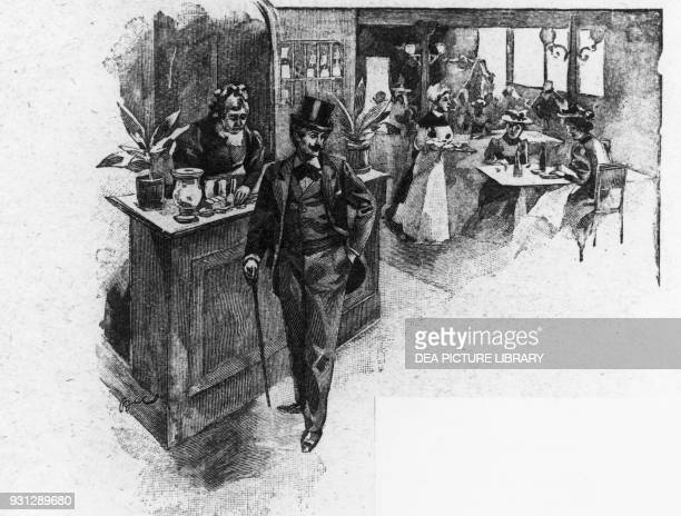 Georges Duroy at the restaurant illustration for Bel Ami novel by Guy de Maupassant woodcut by Georges Lemoine after a drawing by Ferdinand Bac...