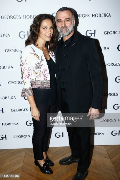 Georges Hobeika and Elisa Tovati attend the Georges Hobeika Haute Couture Spring Summer 2018 show as part of Paris Fashion Week on January 22 2018 in...