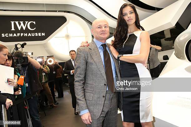 Georges Kern and Adriana Lima visit the IWC booth during the Salon International de la Haute Horlogerie 2013 at Palexpo on January 22, 2013 in...