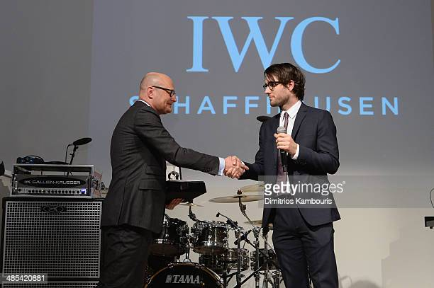 Georges Kern and Jay Dockendorf onstage at the 'For the Love of Cinema' dinner hosted by IWC Schaffhausen and Tribeca Film Festival at Urban Zen on...