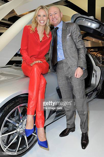 Georges Kern and Karolina Kurkova visit the IWC booth during the Salon International de la Haute Horlogerie 2013 at Palexpo on January 22, 2013 in...