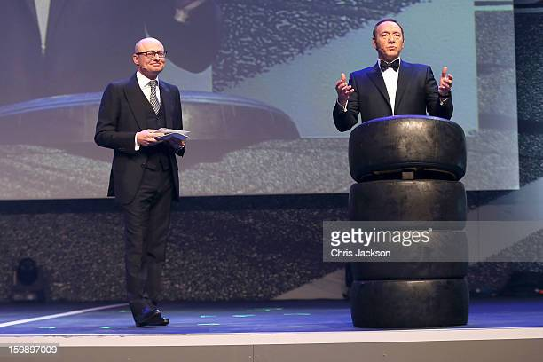Georges Kern and Kevin Spacey attend the IWC Schaffhausen Race Night event during the Salon International de la Haute Horlogerie 2013 at Palexpo on...