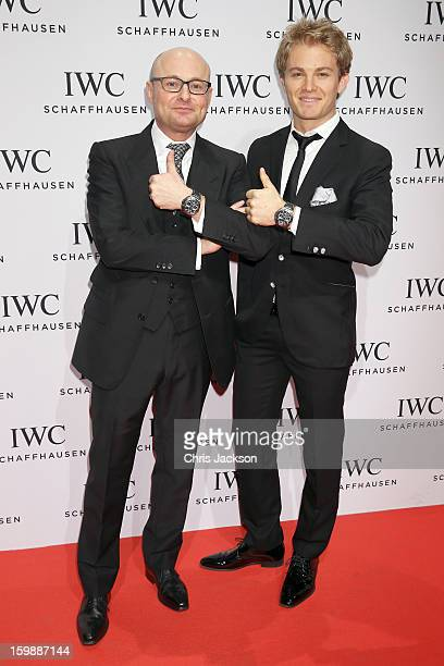 Georges Kern and Nico Rosberg attend the IWC Schaffhausen Race Night event during the Salon International de la Haute Horlogerie 2013 at Palexpo on...
