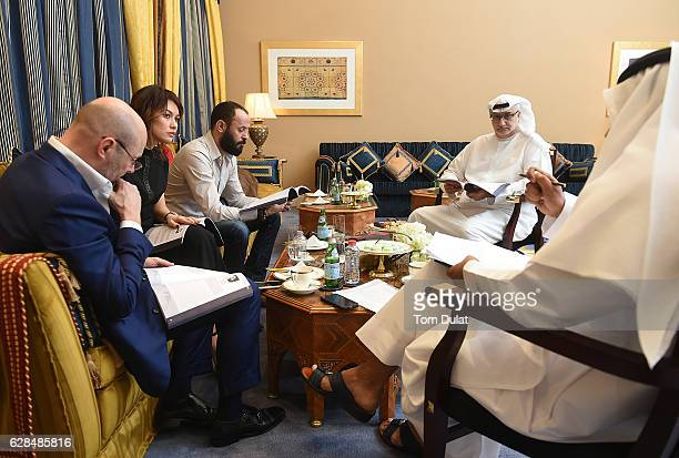 Georges Kern CEO IWC Schaffhausen Olga Kurylenko Ali Suliman and Massoud Amralla Al Ali artistic director of DIFF attend the jury meeting of the...